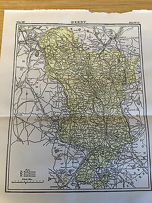 1904-Original Antique Print from Encyclopaedia BRITANNICA,Map of DERBY county UK