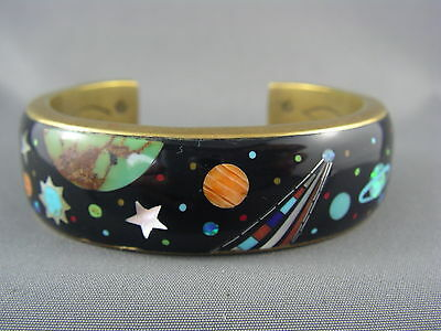 EXQUISITE! Vintage DRF JR signed Southwestern Celestial Gemstone Inlay Cuff