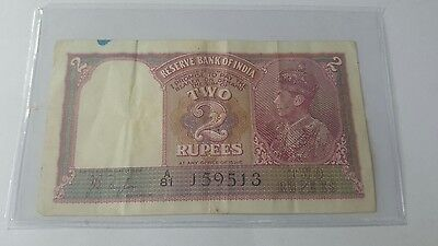 India Paper Money - 2 Rupees Note King Geo VI 1937 P17a VF