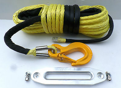 78ft 15mm heavy duty Synthetic Winch Rope, Hawse & Hook, Dyneema SK75!