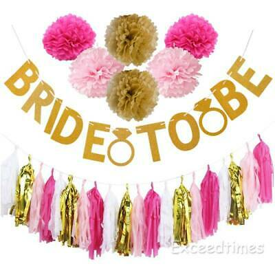 BRIDE TO BE Banner Bunting Paper Pom Pom Tassel Hen Night Do Party Garland Decor