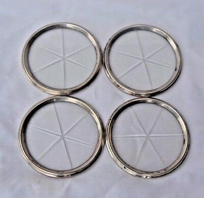Set Of 4 Vintage Sterling Silver And Cut Star Coasters