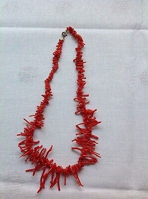 antike Kette rote Astkoralle Edelkoralle Collier Coral ca.48cm