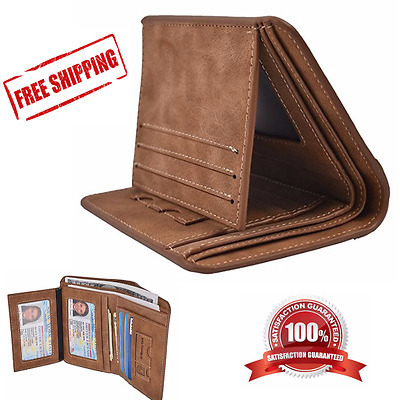 Mens Vintage Trifold PU Leather Rfid Blocking Black Credit ID Holder Wallet