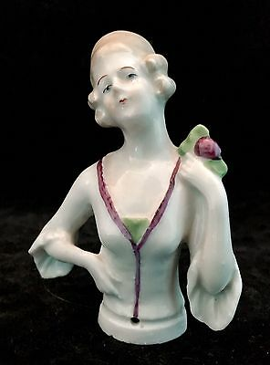 Half Doll Porcelain German Hands On Hip Holding Flower Purple Green