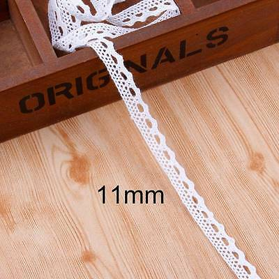 5Yds 11mm Embroidered White Lace Trim Crochet Cotton Ribbon Vintage Sewing Craft