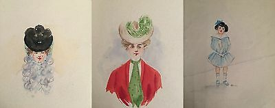 Lot of 3 Vintage 1800s Unscripted Watercolor Paintings of 1800s Fashion