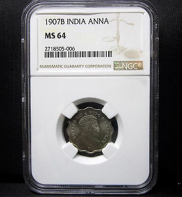 1907-B India 1 Anna ✪ Ngc Ms-64 ✪ Uncirculated Bu Unc L@@k Now Choice ◢Trusted◣