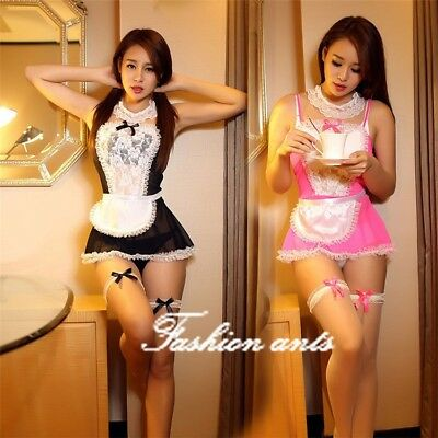 Sexy/Sissy Women Maid Lingerie Costume Cosplay Outfit Fancy Dress-G string 6PCS