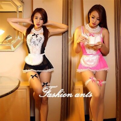 Women Sexy Lingerie White Chemise Sleepwears Dress Babydoll Nightwears G-string
