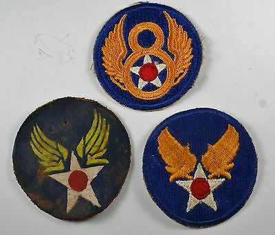 3 Vintage Military Patches Wwii Usaaf Army Air Force Leather & Embroidered