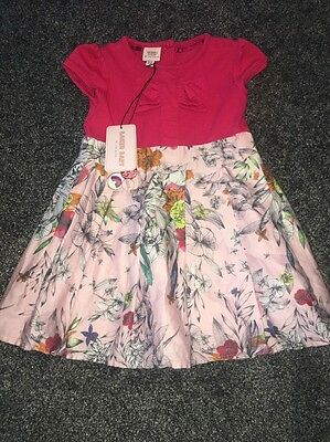 BNWT Ted Baker Baby Girl's Floral Dress 9-12 months Jersey Mix