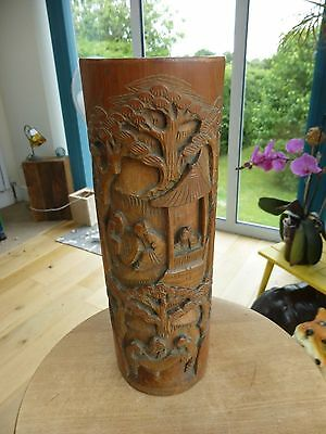 Large bamboo carved brush pot.... approx 32cm high