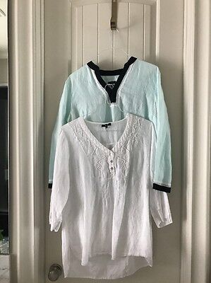 LOT - 2 Women's Summer Long sleeve TUNIC Blouses Size LARGE