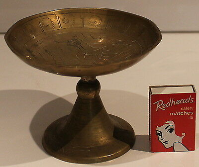 Small Brass Pedestal Dish Bowl Plate Nuts Lolly Candy Display Trinkets Vintage x
