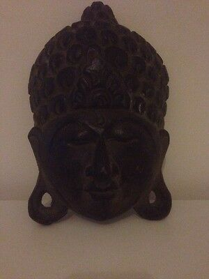 Tibetan Hand Carved Wooden Face Mask Buddha