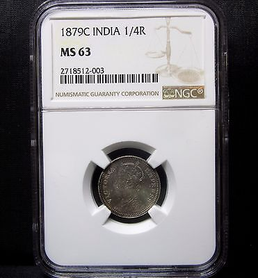1879-C India 1/4 Rupee ✪ Ngc Ms-63 ✪ 1/4R Choice Uncirculated Unc Bu ◢Trusted◣