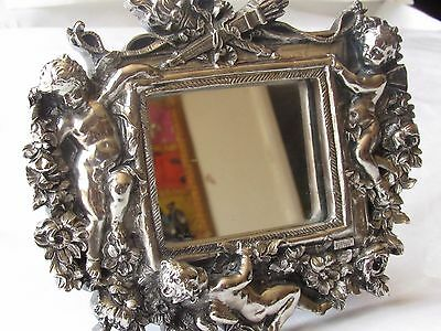 Antique Vintage Italian Sterling Silver Mirror Picture Frame Baroque Rococo