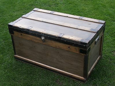 Antique Victorian Rustic Old Pine Chest Blanket Box Storage Coffee Table
