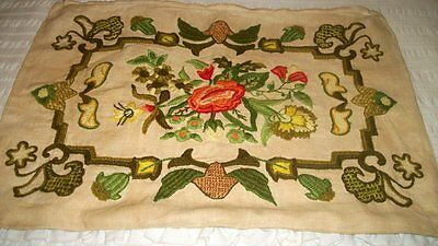 Vintage Antique EMBROIDERY LINEN PILLOW CASE Very Detailed HANDMADE