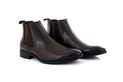 Mens Route 21 Mark Chelsea Ankle Boots Brown PU