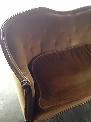 Antique 2-Section  Sofa Couch Chair with curved wood for refinishing .