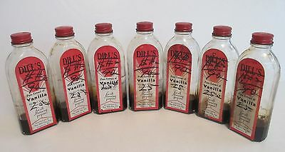 Vintage Dill's Vanilla Extract Glass Bottle 2oz Norristown PA Lot of 7