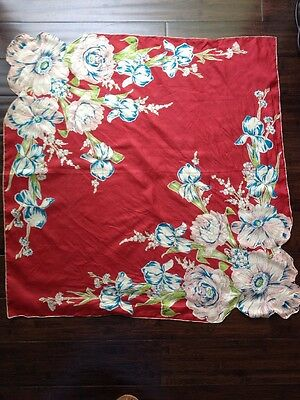 "Vintage Hand Rolled Silk Scarf Red Blue Iris Flowers 34"" X 33"" Made In The USA"