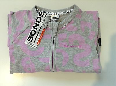 NWT Bonds Baby Girls Grey Purple Print Zip Wondersuit Size 00-2 RRP$24.95