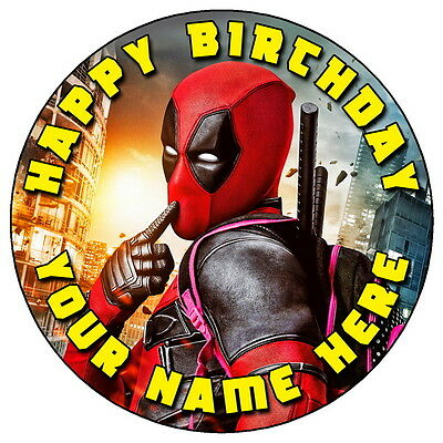 """Deadpool Fun Party - 7.5"""" Personalised Round Edible Icing Cake Topper (2)"""