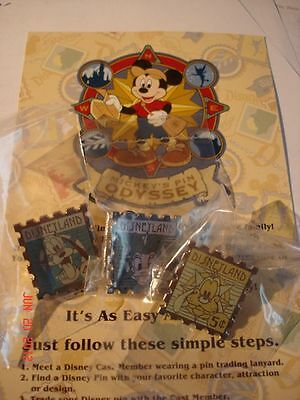 Disney Pin DLR '08 Hotel Hidden Mickey Stamp Collec Pluto Goofy & Daisy Set of 3