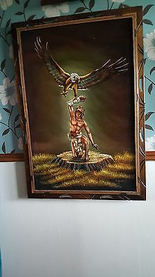 Set of 4 Paintings by SancheZ Carved  Mexican Wood Frames