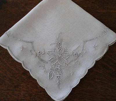 Vintage Madeira Silver Gray Hand Embroidered Floral Bridal Hanky Wedding