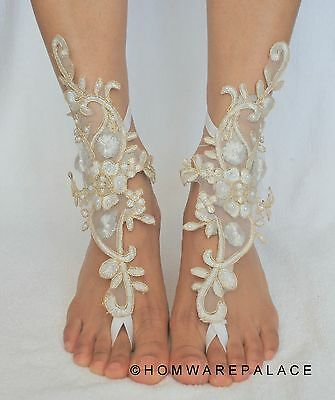 White Bridal Lace Barefoot Sandals Beach Wedding Summer Sandles