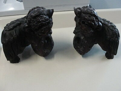 Antique Chinese Wooden Carving pair of  Foo Dogs