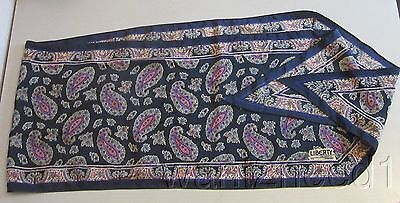 Liberty of London ALL SILK OBLONG SCARF 11x70 navy paisley pure 100%