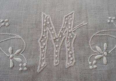 Vintage Heirloom Linen Table Runner French Knot Monogram M Tatted Lace