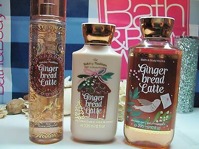Bath and Body Works 3 ~ Gingerbread Latte ~ Mist,Lotion  & Shower Gel Full Size