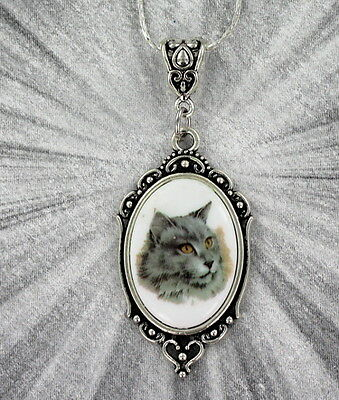 Vintage Style Cat Cameo Pendant, Necklace