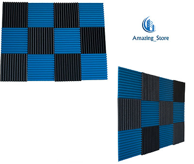 """Studio Foam Wedge 12 Pack Sound Absorber Acoustic Panels 12"""" X 12"""" Soundproofing"""