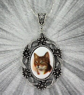 Vintage Style Cat Cameo Pendant, Necklace With Chain