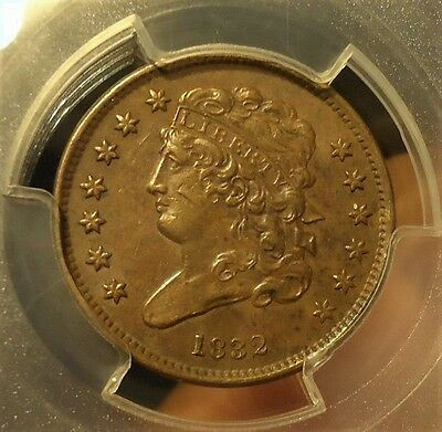 1832  PCGS  AU 50  Classic Head Half Cent,  Listed at $200