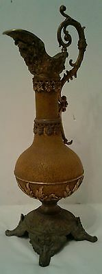 "Antique Victorian 16"" Brass Metal Decorative Ewer Pitcher Cherub Floral Pattern"