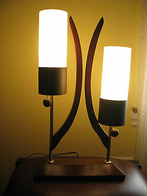 VINTAGE 60s  TABLE LAMP WALNUT WOOD  AND GLASS
