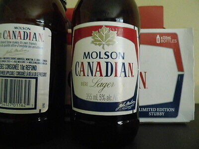 MOLSON CANADIAN STUBBY full & capped vintage beer bottle limited edition 150th