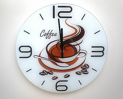 Wall clock tempered glass round coffee cup brown white kitchen shop 35cm