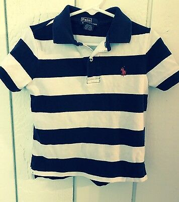 Ralph Lauren Polo Boys Size 3T 3 Blue White striped Short Sleeve Polo Shirt
