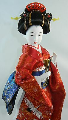 "Japanese GEISHA 16"" Doll from Japan on Stand w Case Large 3D Art Red with Blue"