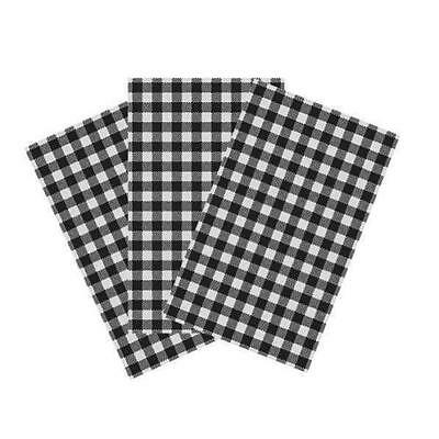 Greaseproof Paper 200x300mm Gingham Black Checkered 200Shts/Pack BULK BUY SAVE