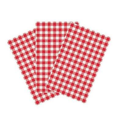 Greaseproof Paper 200x300mm Gingham RED Checkered 200Shts/Pack BULK BUY SAVE